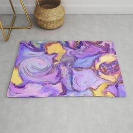 Lavender, Purple, Gold Watercolor line art Abstract Duffle Bag | Saletta Home Decor Rug