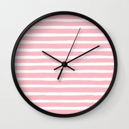 Stripes, Pink, Minimal, Scandinavian, Abstract, Pattern, Modern art Wall Clock