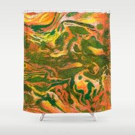 Marbleized and Glazed Shower Curtain