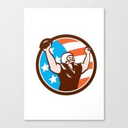American Football Celebrating Touchdown Retro Canvas Print