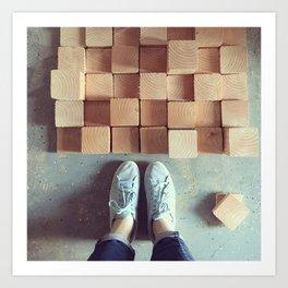 Wood Blocks Art Print