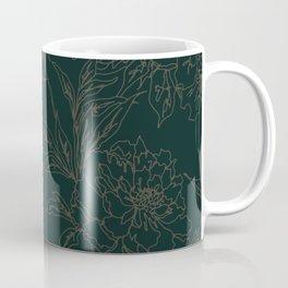 Emerald Vintage Chinoiserie Botanical Floral Toile Wallpaper Pattern Coffee Mug