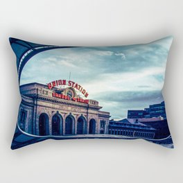 Union Station // Downtown Denver Travel & Train Station Retro Red Sign City Scape Photography Rectangular Pillow