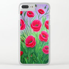 Poppies-8 Clear iPhone Case