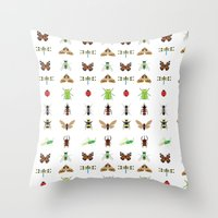 insects Throw Pillows featuring insects by Alysha Dawn