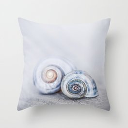 Blue Shells on white washed wood  pastel blues Throw Pillow