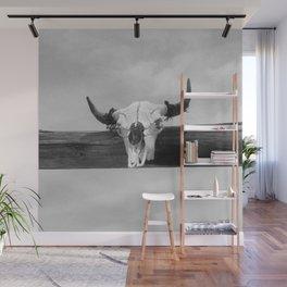 Bull Head Black and White Wall Mural