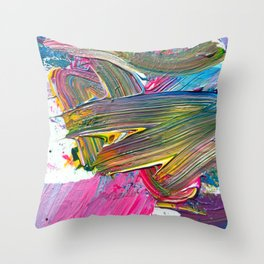 An Artist's Colorful Paint Palette with Rainbow Paint Smears  Throw Pillow
