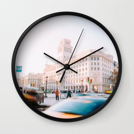 Barcelona 01 -  City vibes, Spain, Travel, Street Urban Photography, Wall Art, Home Decor, Europe Wall Clock