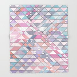 Triangle Pattern no.25 Light Pink Throw Blanket