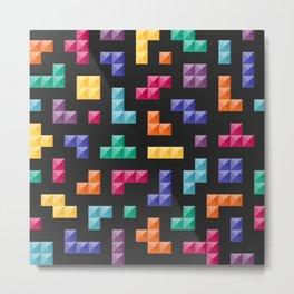 Tetris bricks jewel tones on black pattern Metal Print