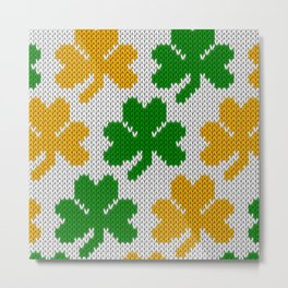 Shamrock pattern - white, green, orange Metal Print