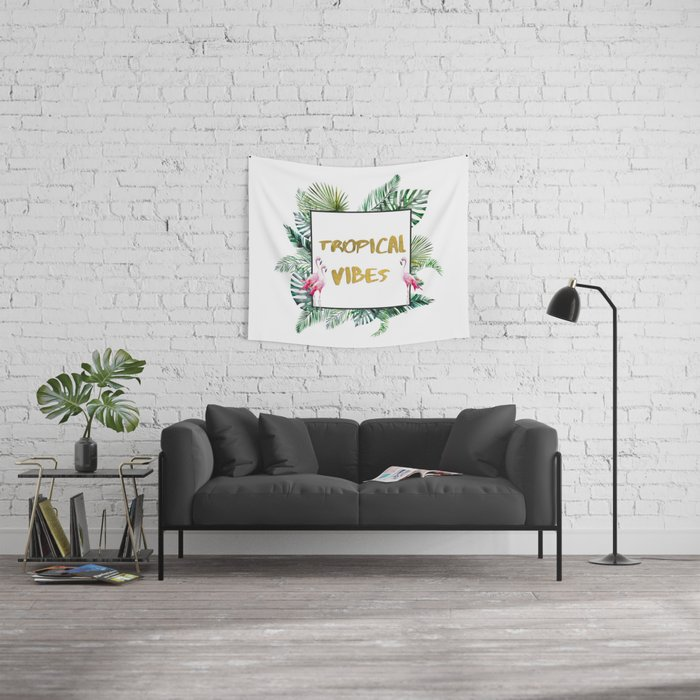 Aloha - Tropical Vibes Typography with Palm Leaves and Flamingo Wall Tapestry
