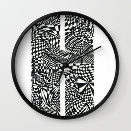Alphabet Letter H Impact Bold Abstract Pattern (ink drawing) Wall Clock