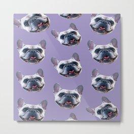 light purple dog pattern cute puppy french bulldog Metal Print