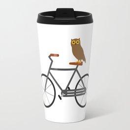 Owl Riding Bike Travel Mug