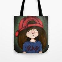 rap Tote Bags featuring rap by Pınar Bibin