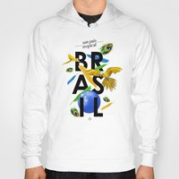 brasil Hoodies featuring BRASIL Feather - CAPOEIRA RULES by NELOS Cisneros
