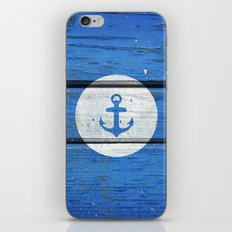 Nautical White Anchor on Vintage Blue Wood Panels iPhone & iPod Skin