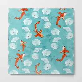 Waterlily koi in turquoise Metal Print