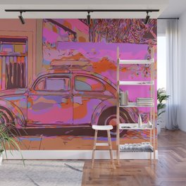 Beetle in front of a wall and garage Wall Mural