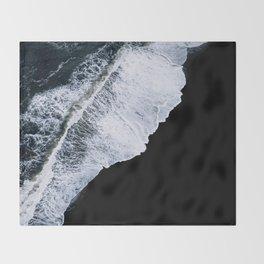 Waves crashing on a black sand beach – minimalist Landscape Photography Throw Blanket