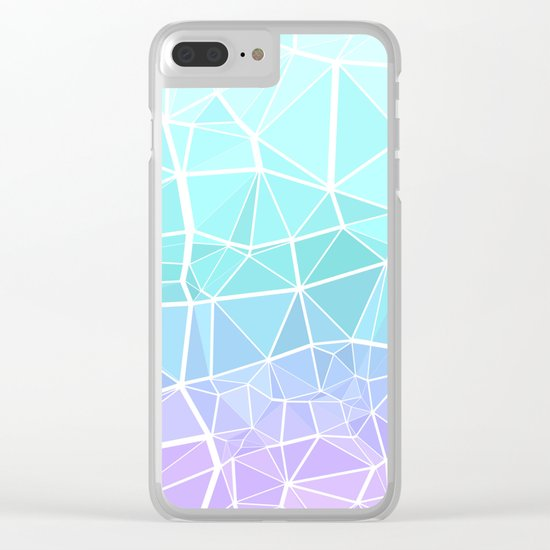 Cyan, Turquoise, and Purple Triangles Clear iPhone Case