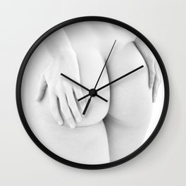 1727-JAL B&W Nude Woman Rear View Hands on Bottom Classic Female Form Beautiful Art Nude Chris Maher Wall Clock