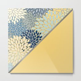 Modern, Floral Prints, with Block Color, Yellow and Blue Metal Print