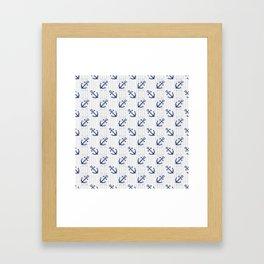 Navy Blue Anchor Pattern Framed Art Print