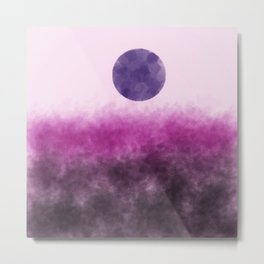 Pink landscape with purple moon Metal Print