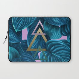 tropical turquoise leaves pattern Laptop Sleeve