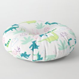 Dino Fun land Black Floor Pillow