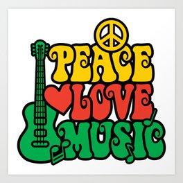 Reggae Peace Love and Music Art Print