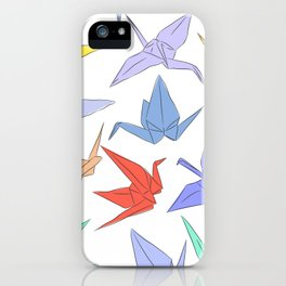 Japanese Origami paper cranes symbol of happiness, luck and longevity iPhone Case