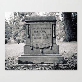 Graveyard inscription Canvas Print