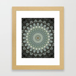 Gray and green mandala Framed Art Print