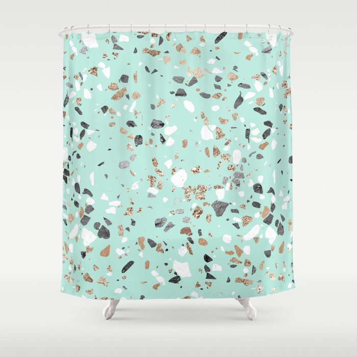 glitter and grit marble mint green shower curtain by followmeinstead