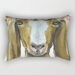 Goat Art, Flower Crown Farm Animal Rectangular Pillow