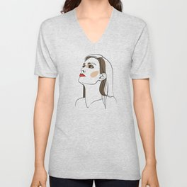 Woman with long hair and red lipstick. Abstract face. Fashion illustration Unisex V-Neck