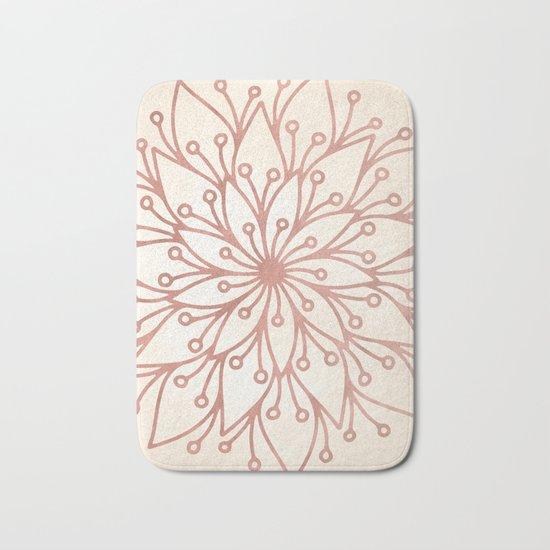Mandala Rose Gold Petals on Cream Bath Mat