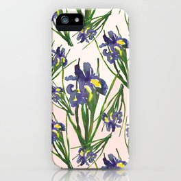 Exotic pinky purple dutch iris flower pattern design iPhone Case