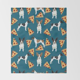 Rat Terrier pizza dog breed pet portrait dog pattern dog breeds gifts for dog lovers Throw Blanket
