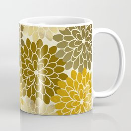 Golden Petals Pattern Coffee Mug