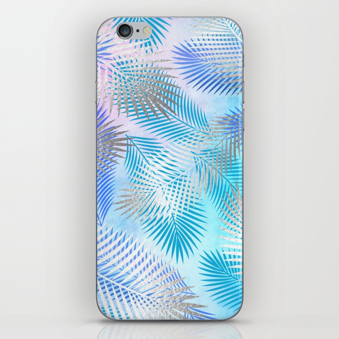 Watercolor and Silver Feathers on Watercolor Background iPhone Skin