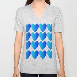 Love Hearts Classic Blue Ombre Unisex V-Neck