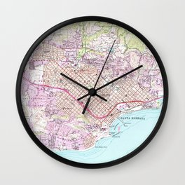Vintage Map of Santa Barbara California (1952) Wall Clock