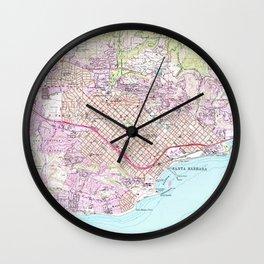 Vintage Map of Santa Barbara California (1952) Wall Clock