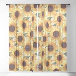Happy Yellow Sunflowers Sheer Curtain