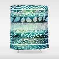 floral Shower Curtains featuring Dreamy Tribal Part VIII by Pom Graphic Design
